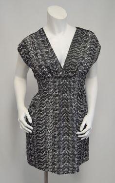 8571a835dde494 GUESS Black White Print Zipper Fit   Flare Lightweight Dress Wear to Work  Small