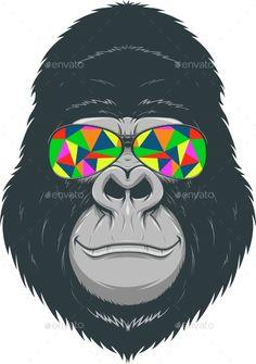 Cheerful Gorilla - Tattoos Vectors