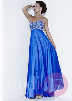 What a lovely Studio 17 12516 Glitzy Chiffon Gown...especially since I can't live without the color blue in my life ! <3 #CrushingOnRissyRoos #BLUE #cute #fashion #RissyRoos #style #prominspiration #prom #prom2k15 #promfashion #Studio17 #pretty #crystals