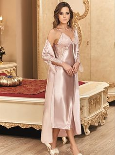 5753043401 Nurteks 5192 Satin Nightgown Set will make you redefine comfort when you  wear this cozy and stylish set.