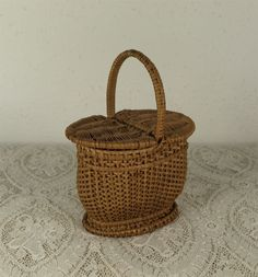 Lovely Miniature Antique Original Picnic Basket for French Fashion from mybebes on Ruby Lane