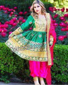 #green #pink #afghani #dress