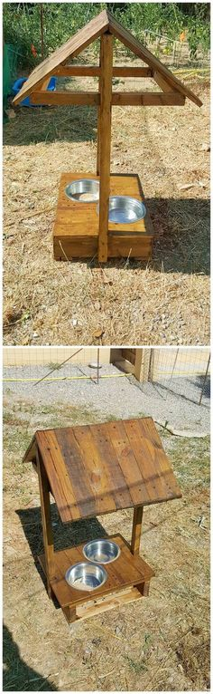 Make your pet feeding a neat task to do by creating such an interesting piece of the wood pallet feeder for pets. This creation has been finalized in the shape of hut whose lower side is sectioned with straight board of wood pallet. Over this straight wood pallet board steels bowls are located. For adding it with elegant touch dark brown shade of wood pallet is used.