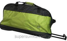 9a3767569e23 Дорожная сумка на колесах, 70 л. Paso, Польша 49-373C черный с салатовым —  только качественная продукция от «SuperSumka»