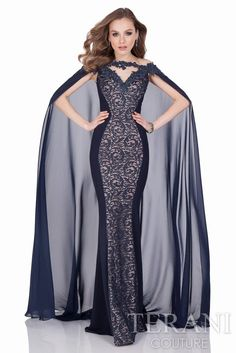 Make a bold entrance wearing this Terani evening gown in royal blue and platinum. This dress has floral applique at the upper portion and a dramatic sheer cape at back. Enjoy RUSHWORLD boards, UNPREDICTABLE WOMEN HAUTE COUTURE and LULU'S FUNHOUSE. Follow RUSHWORLD on Pinterest! New content daily, always something you'll love!
