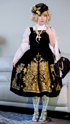 """My Christmas coord. • hat: handmade • jsk: Lief """"Sacred Night"""" • blouse: Baby the Stars Shine Bright • tights: Angelic Pretty """"Horror Garden"""" • shoes: Angelic Pretty """"Milky Cross"""" • bag: Angelic..."""