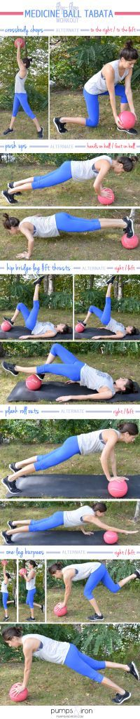 You'll need a medicine ball for these workouts. I use a ball for these med ball workouts, but you should adjust the weight depending on your fitness level. Click an image to see full tut… Tabata Workouts, Hiit, Ball Workouts, Workout Ball, Cardio, Yoga Fitness, Fitness Tips, Fitness Motivation, Health Fitness