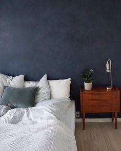 KABE Deep Blue makes you feel like sleeping under the open sky 🌜 Blue Rooms, Blue Bedroom, Blue Walls, Bedroom Wall, Calm Bedroom, Peaceful Bedroom, White Headboard, Bedding Inspiration, Decor Room