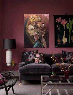 Copper Oil painting by Olga Zelinska Home Living Room, Living Room Designs, Living Room Decor, Bedroom Decor, Burgundy Living Room, Burgundy Room, Burgundy Walls, Room Interior, Interior Design