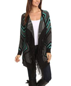 Love this Mint & Gray Zigzag Tassel-Accent Open Cardigan - Plus Too on #zulily! #zulilyfinds