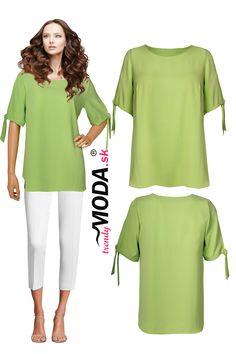 Krásna dámska blúzka v trendy zelenom odtieni vo veľkostiach i pre moletky Trendy, Tunic Tops, Women, Fashion, Moda, Fashion Styles, Fashion Illustrations, Woman