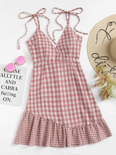 Casual Cami Plaid Flounce Loose Spaghetti Strap Sleeveless High Waist Pink Short Length Knot Shoulder Ruffle Hem Checked Cami Dress in 2020 Casual Summer Dresses, Trendy Dresses, Cute Dresses, Summer Outfits, Casual Outfits, Cute Outfits, Casual Clothes, Dress Summer, Stylish Clothes