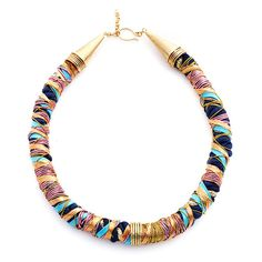 colorful rope and wire necklace (how about a t-shirt base, and bits of re-purposed ribbon?)