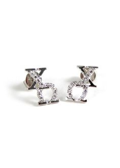 A pair of beautiful and classy Chi Omega earrings set with brilliant lab-created diamonds, designed exclusively by our company. The earrings are hand-crafted and polished to a dazzling shine. A perfec