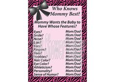 "Pink zebra theme ""Who Knows Mommy Best"" baby shower game! $5.00 #pink #black #zebra #baby #shower #game #mommy #girl #printable"
