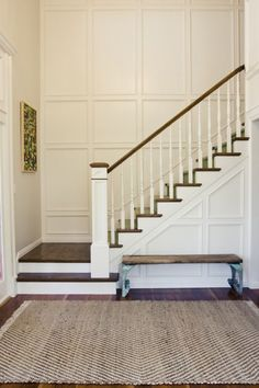 70 Farmhouse Wall Paneling Design Ideas For Living Room, Bathroom, Kitchen And Bedroom Tall Wall Decor, Stairwell Wall, Wainscoting Stairs, Wainscoting Ideas, Stair Paneling, Panelling, Staircase Remodel, Kitchens And Bedrooms, Foyer Decorating