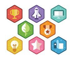Give your course a bright, arcade style with these game-style badges. And if you'd like to tweak the color scheme, no problem.png versions—so you can customize the version t. Game Ui Design, Badge Design, Icon Design, Logo Design, App Badges, Badge Icon, Presentation Backgrounds, Badge Template, Tree Icon