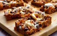 <p>These s'mores blondies, for example, are made with chickpeas, almond butter, chocolate chips, marshmallows, and graham crackers.</p>