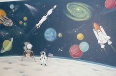 Outer Space mural for a little boy's room, by Kyle King, Decorative Artist