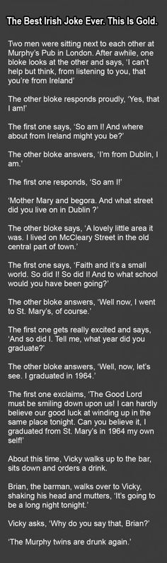 The Best Irish Joke Ever. This Is Gold.