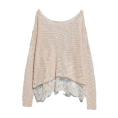 ROMWE Lace Hem Loose Knitted Jumper ($20) ❤ liked on Polyvore featuring tops, sweaters, shirts, blusas, apricot, pullover sweater, long sleeve sweaters, pink pullover sweater, long sleeve jumper and long sleeve shirts