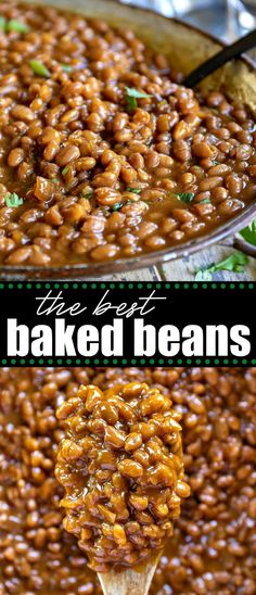 These easy Baked Beans are a delicious addition to BBQs, potlucks, picnics, and game day celebrations! Made from scratch, this thick and hearty baked beans recipe can be served hot or cold - your choice! // Mom On Timeout Crockpot Baked Beans, Simple Baked Beans Recipe, Baked Beans From Scratch, Homemade Baked Beans, Baked Bean Recipes, Molasses Baked Beans Recipe, Navy Bean Recipes, Beans Recipes, Slow Cooker Recipes