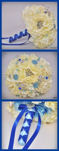 Hmm maybe blue and champagne ribbons? Love the pearls on it.