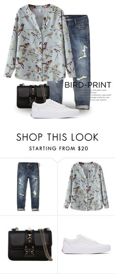 """Bird Print 2338"" by boxthoughts ❤ liked on Polyvore featuring Hollister Co., Chicnova Fashion, Valentino and Vans"