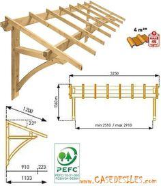 Auvent en bois à Prix Discount : Auvent bois de garage ou de fenêtre 1 pan MAR3212