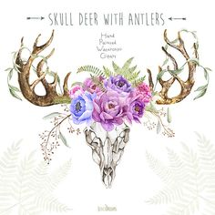 Skull Deer With Antlers. Hand Painted Horns Fern by ReachDreams Bull Skulls, Deer Skulls, Cow Skull, Deer Antlers, Animal Skulls, Skull Art, Wreath Watercolor, Floral Watercolor, Clipart