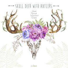 Skull Deer With Antlers. Hand Painted Horns, Fern, Peony, Sprigs, Wild, Boho…
