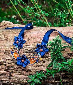 Bash-arT / Neprehliadnuteľná/ blue orange soutache necklace
