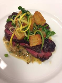 Hanger steak, fried potatoes, squash, wild mushrooms & arugula  $10. Tonight only. Full dinner menu also available.