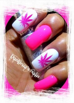 Pink Marijuana Nails by DanijellaDavis - Nail Art Gallery nailartgallery.nailsmag.com by Nails Magazine www.nailsmag.com #nailart