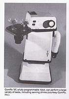 "TOT 3000 Robots by ComRo Inc. ""Tot"" 1982-83 Mobile programmable multilingual personal robot; contains dual control modes and sensory system; acts as a sentry, tells time, A fully programmable robot, can perform a large variety of tasks, including searving drinks.; designed by Jerome Hamlin; 36"" X 24"" X 12""."