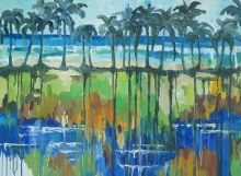 Palm fringed beach in Antigua by Antiguan artist Gilly Gobinet