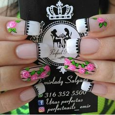 Diy Nails, Swag Nails, Airbrush Nails, Vintage Nails, Magic Nails, Rose Nails, Flower Nail Art, French Tip Nails, Nail Decorations
