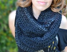 Starry night infinity scarf, cowl, crocheted loop cowl, crochet scarf, winter cowl