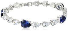 Sterling Platinum CZ Sumptuous Simulated-Sapphire Bracelet www.teelieturner.com The bracelet contains pear cut cubic zirconia stones in clear and blue. $277 #sparkle