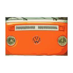 Old Classic Automobile in Orange Simple Design Canvas Print - diy cyo personalize design idea new special custom