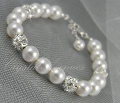 Bridal+Pearl+Bracelet+Rhinestone+Pearl+Pearl+by+CrystalAvenues,+$30.00