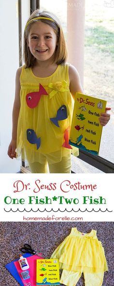 DIY Dr Seuss Costume {One Fish Two Fish} ⋆ Homemade for Elle - - One Fish Two Fish Costume. A DIY Dr Seuss Costume featuring One Fish Two Fish. Easy to make and inexpensive - perfect halloween costume for a child! Story Book Costumes, Storybook Character Costumes, World Book Day Costumes, Storybook Characters, Easy Book Week Costumes, Dr. Seuss, Dr Seuss Week, Dr Seuss Costumes, Teacher Costumes