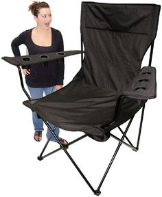 On The Edge 810169 Black No Logo Folding Kingpin Chair ** Want to know more, click on the image. Note:It is Affiliate Link to Amazon.
