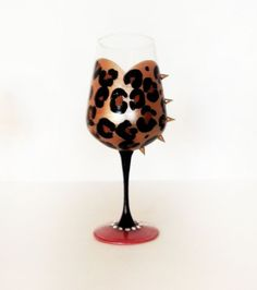 Leopard Couture wine glass  black stem  hot by durbandecordesigns, $25.00