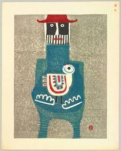 'Red Hat' (1965) by Japanese artist printmaker Azechi Umetaro (1902-1999). Color woodcut. via ukiyo-e