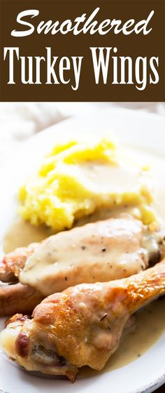 Turkey Wings Slow roasted turkey wings, smothered in homemade turkey gravy.Slow roasted turkey wings, smothered in homemade turkey gravy. Turkey Recipes, Meat Recipes, Chicken Recipes, Cooking Recipes, Healthy Recipes, Cooking Ideas, Dinner Recipes, Smothered Turkey Wings, Recipes
