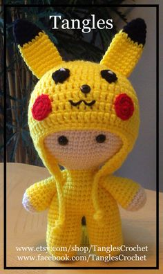 Pikachu Inspired Big Head Baby Doll Made to by TanglesCrochet Amigurumi Toys, Amigurumi Patterns, Doll Patterns, Crochet Patterns, Cute Crochet, Crochet Dolls, Crochet Hats, Baby Dolls, Doll Toys