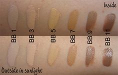 Jane Iredale BB Cream color swatches