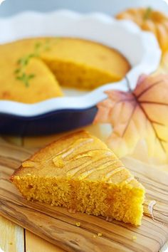Not the biggest fan of sweet cornbread, but this pumpkin version looks like it'd be so delicious and decadent served warm, with honey. BK) Love sweet cornbread and anything with pumpkin gets my attention. Cooking Pumpkin, Pumpkin Recipes, Fall Recipes, Holiday Recipes, Honey Recipes, Recipes Dinner, Honey Cornbread, Moist Cornbread, Cornbread Recipes