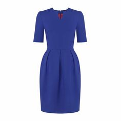 The power dress for work.  The Alana electric blue business dress is a full-skirted dress with box pleats.  Inspired by the sophisticated, romantic vintage style aesthetics of the 50's fashion, fused with contemporary elements that makes it a pretty modern dress with timeless appeal.  The dress design is sweet yet sophisticated.